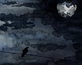 Watercolor Painting - Moonlit Raven - Full Moon Night Sky Bird Art Print