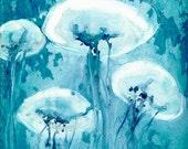 Jellyfish Art - Watercolor Painting - Teal Blue Contemporary Sea Creature Art Print