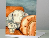 Weimaraner Dog Art Card - Pet Portrait Painting