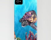 Sea Turtle iPhone 7 Case - Ocean Life Watercolor Painting - Cell Phone Cover - Designer iPhone Samsung Case