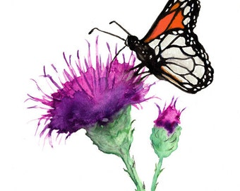 Watercolor Painting - Monarch and Milk Thistle - Floral Nature Art Print