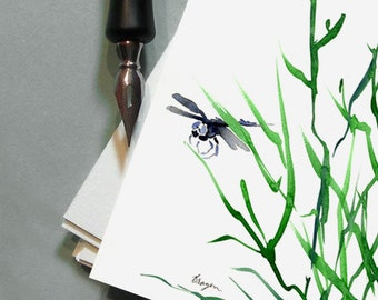 Dragonfly Greeting Art Card - Nature Bug Insect Sumi-e