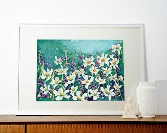 Watercolor Painting - Dancing Daisies Field of Wildflowers - Landscape Art Print
