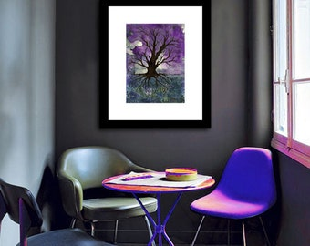 Art Print - Gothic Tree of Life Landscape - Watercolor Painting