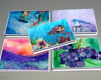 Set Greeting Cards  - Personalized Pick ANY FIVE Paintings - Art Cards Blank Inside
