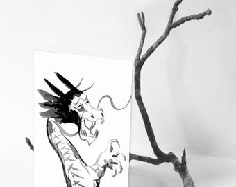 Dragon Card - Chinese Dragon Asian Art Sumi-e Art Card