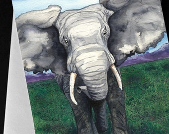 Elephant African Wildlife Watercolour Art Card