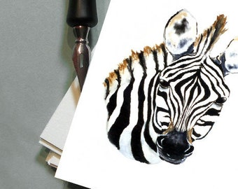 Greeting Card - Zebra African Wildlife Watercolour - Reproduction Art Card