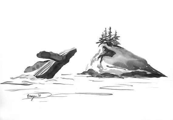 ON SALE Original Ink Painting - Humpback Whale Migration - Wildlife Art Sumi-e
