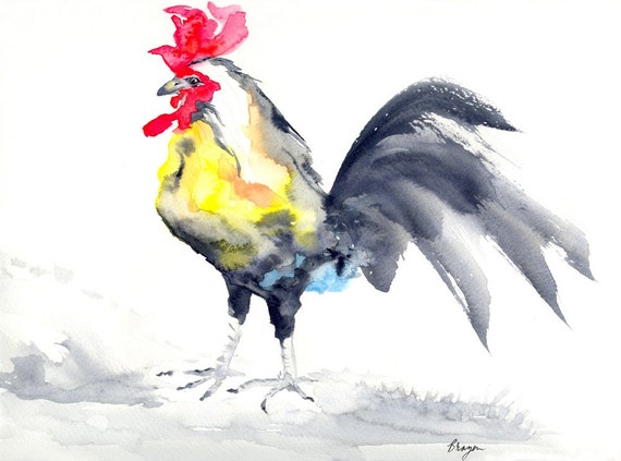 Art Print - Cockrel Rooster Bird - Sumi-e Painting