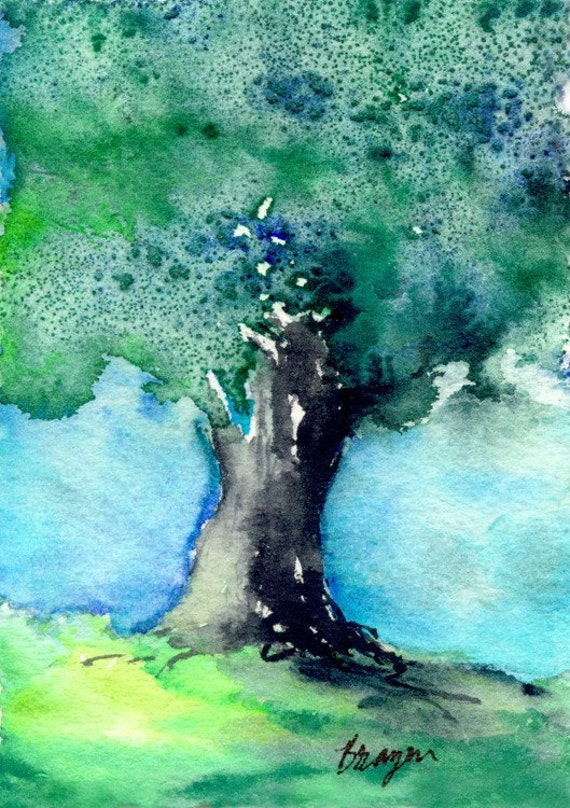 Art Print  - Woodland Oak Tree Nature - Watercolor Painting