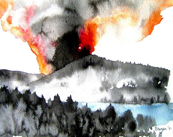 Ink Painting - Forest Fire - Mountain Landscape Sumi e - Japanese Brush Painting - Art Print