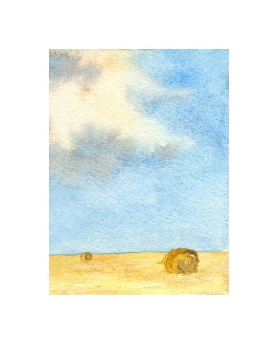 Watercolor Painting - Prairie Sky Hay Harvest Farmer Field Landscape Art Print