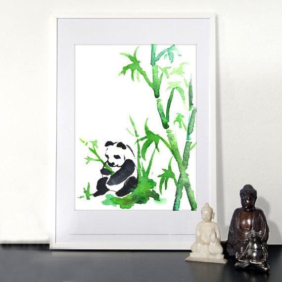 Watercolor Painting Panda Bear Bamboo Zen Fine Art Print