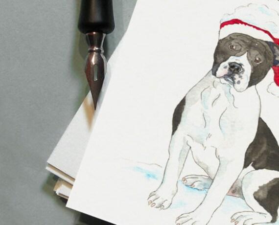 Custom Portrait - Original Christmas Watercolor Pet Portrait - Pack of 20 Chrismas Cards