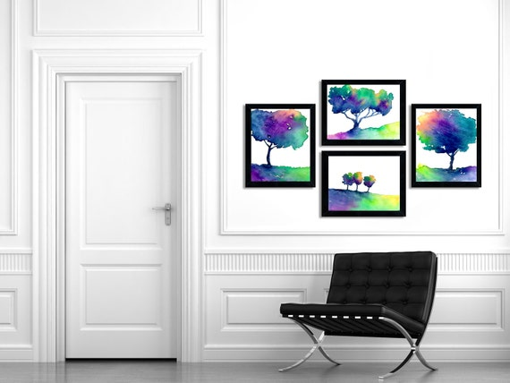 Watercolor Painting - Rainbow Tree Trio - Modern Contemporary Art Print