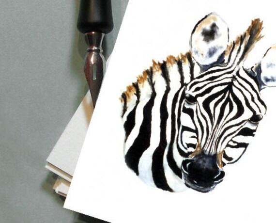 Greeting Card - Zebra African Wildlife Watercolour - Reproduction Art Card