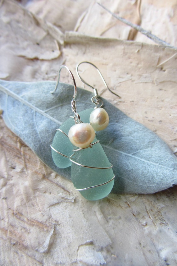 Wire Wrapped, Pale Blue Beach Glass, White Freshwater Pearl Earrings, Sterling Silver Hooks