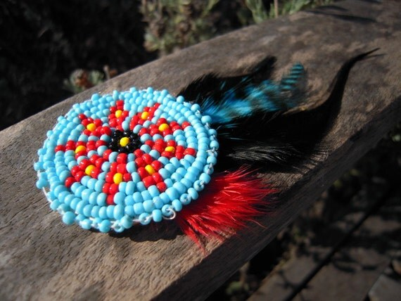 Large Beaded Feather Hair Clip
