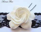 White Gardenia Hair Pin With Swarovski Rhinestone (2.5 inches)