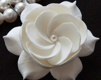 Bridal Fascinator, Gardenia Bridal Fascinator, Hair Fascinator, Gardenia Hair Pin Decorated With Pearl, Wedding Headpiece, Bridal Hairpiece