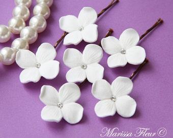 Wedding Bridal Hair Pins, Set Of 6 White Or Ivory Hydrangea Flowers, Wedding Hair Pins With Swarovski Rhinestones, Custom Colors Available