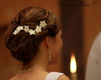 Bridal Hair Pins - Set Of 6 Stephanotis Hair Pins With Swarovski Crystals, Bridal Flower Hair Pins, Flower Girl Hair Pins, Wedding Hair Pins