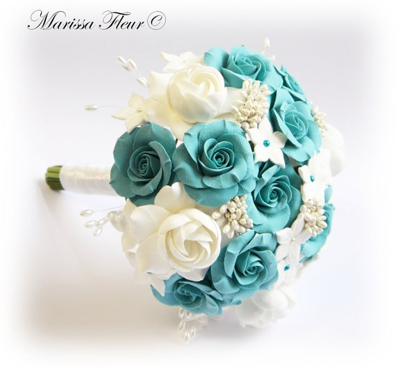 Turquoise Flowers For Wedding: Items Similar To Wedding Bouquet With Turquoise / Aqua