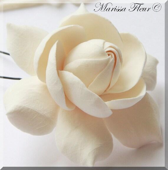 Wedding Bridal Fascinator,  White Or Ivory Wedding Gardenia Fascinator (3''), Bridal Hair Fascinator, Wedding Accessory