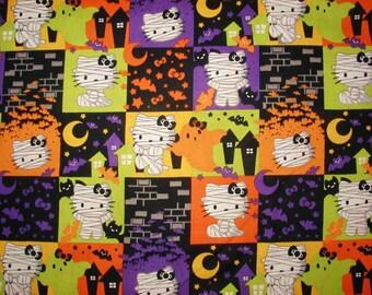 Hello Kitty Halloween Mummy Sanrio Cotton Fabric with Blocks by the Yard