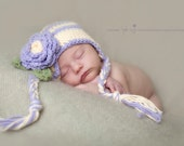 newborn baby hat girl earflap hat crochet purple and cream earflap hat  toddler earflap hat newborn photography prop