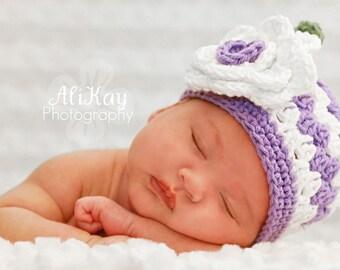 Purple newborn hat, newborn hat, baby girl hat, purple baby hat, newborn girl hat, newborn photo prop, crochet baby hat, white flower hat
