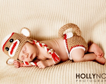 Sock monkey hat and diaper cover set newborn photography prop the sock monkey costume newborn halloween costume