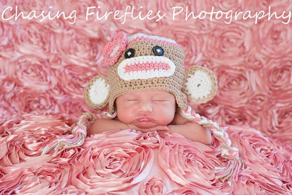 Pink sock monkey hat, newborn sock monkey hat, toddler sock monkey hat, newborn photo prop, toddler sock monkey hat,  newborn monkey hat