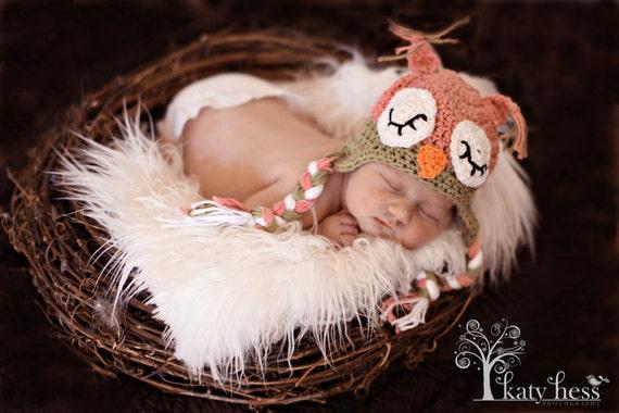 Crochet Sleepy Owl Hat  Newborn to Toddler sizing  Photography prop