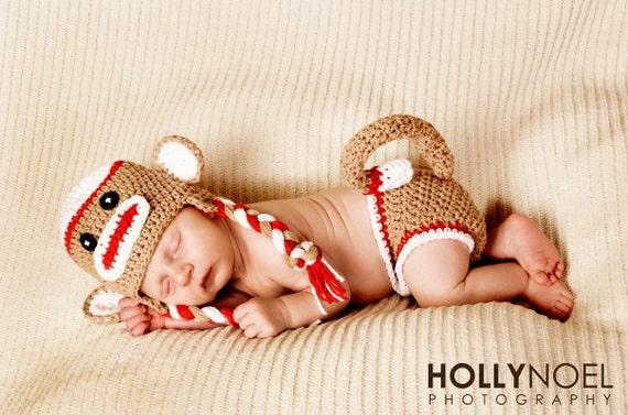 Red sock monkey hat, sock monkey hat  and diaper cover, sock monkey hat, newborn photo prop, sock monkey costume, red sock monkey hat