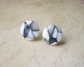 Black and White Mosaic Clay Ear Studs