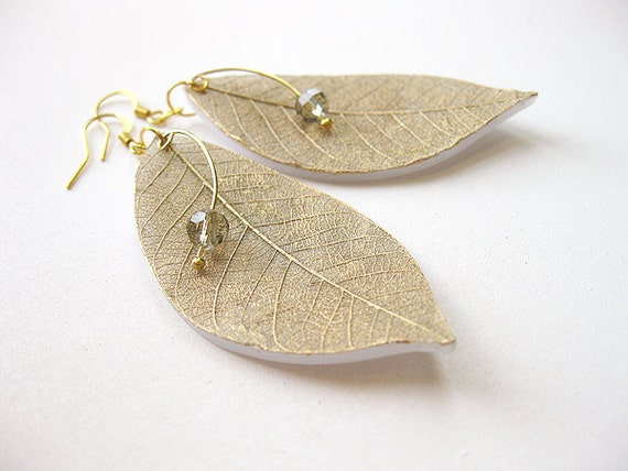FREE SHIPPING CIJ - Golden Leaves Clay Earrings - christmasinjuly