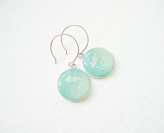 FREE WORLDWIDE SHIPPING - Litttle Cloud Mint Earrings