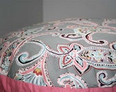 Small Round Pet Bed - Gray, Pink and Aqua Paisley