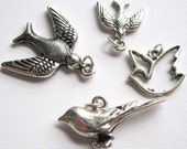 Mixed Set of 4 Silver Bird Charms