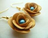 Gold Rose Rose and Tahitian Pearl Earrings