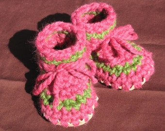 Crocheted Toddler Slipper with Leather and Sheepskin Sole