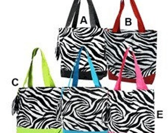 Personalized Zebra Print Tote Bag