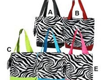 Personalized Zebra Print Tote Bag