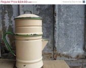 Valentines Day Sale Antique 3 piece Coffee Pot Enamel Victorian Shabby Marked Down