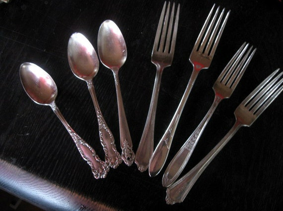 7 Antique Spoons Forks in Various Desigins Rogers Oneida