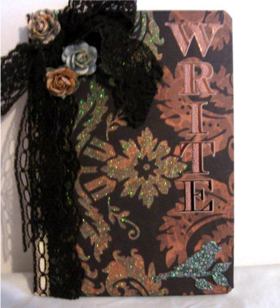 OOAK Neo Victorian Write Damask Journal Goth Shabby