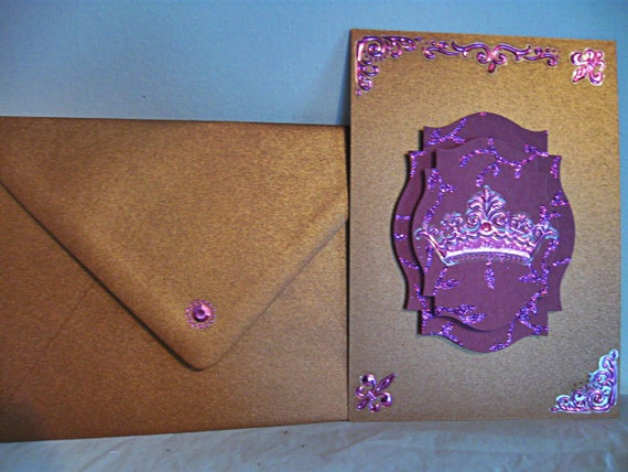 Pretty in Purple and Copper Victorian Greeting Card Goth vampire Medieval