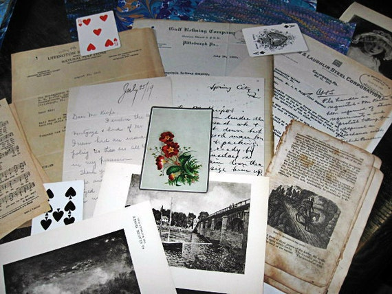 Antique and vintage ephemera for Scrapbooking Paper Arts No copies Collage worthy